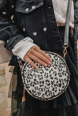ronde schoudertas met luipaardprint buluci round leopard