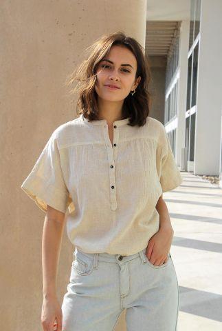 zand kleurige top van katoen en linnen bo slub blouse 21212033