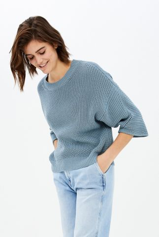 nonchalante gebreide trui met 3/4 mouwen mayke pullover