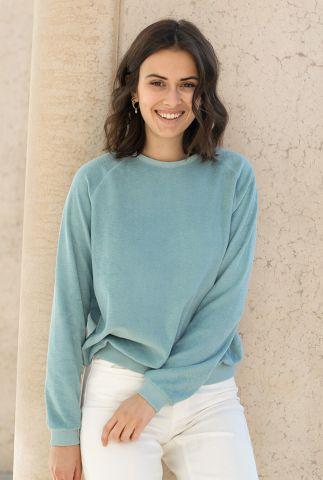 sweater van badstof met relaxed fit teddy slub sweater 21215018
