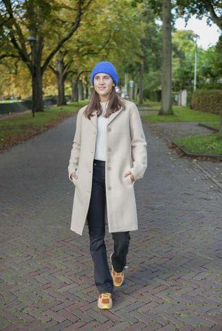 half lange mantel jas van biologisch materiaal c035ws01 classical coat 2