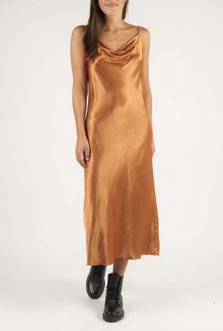 bruine satijnen slip-on jurk met waterval hals calvi