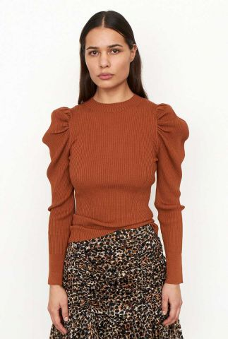bruine trui met pofmouwen canillu knit o-neck