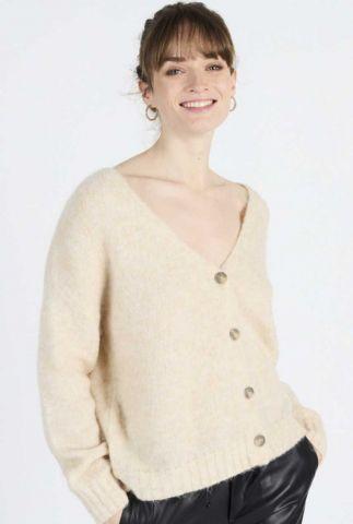 wijdvallend beige vest met knoopsluiting van wolmix telma 60178