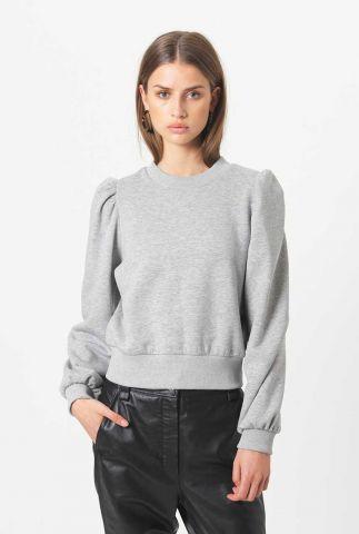 zachte grijs gemêleerde sweater met plooien carmella sweat