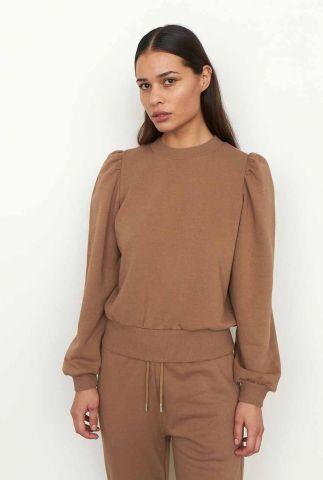 bruine sweater met ronde hals en pofmouwen carmella sweat