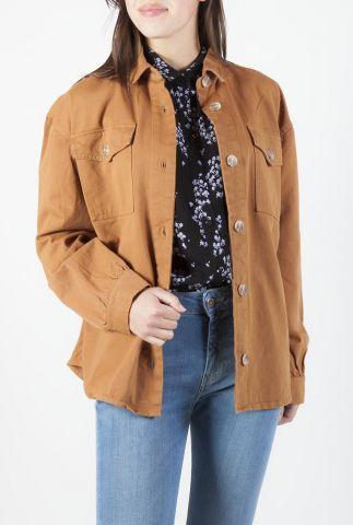 bruine katoenen blouse met borstzakken catalina shirt