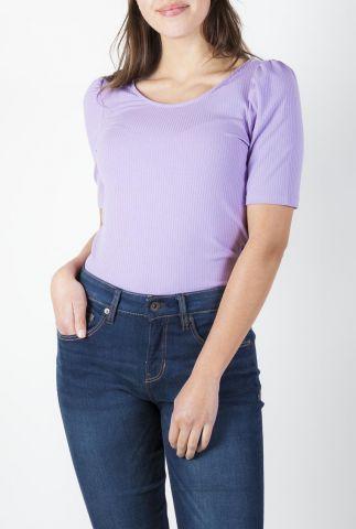 lila rib t-shirt met pof mouwen en lage rug cataline