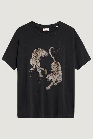 donker grijs bio katoenen t-shirt met opdruk tijgers ts tigre