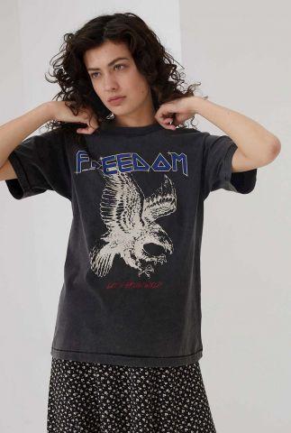 donkergrijs biologisch katoenen t-shirt met opdruk ts free