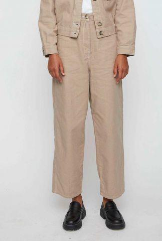 beige high waist broek met wijde broekspijpen cayenne trousers