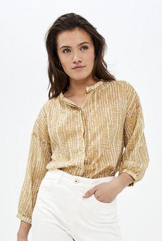 blouse met donker gele stippen print cecile blouse spots