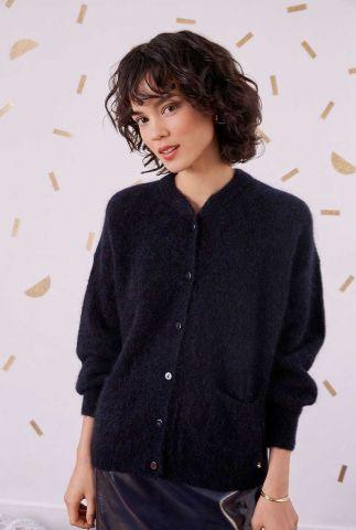 zacht donkerblauw vest met merinowol en kidmohair celena