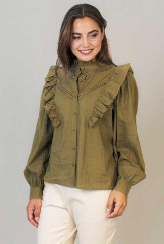 groene blouse met ruches en ajour details celeste blouse w21.88.2453