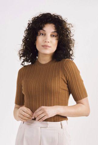 bruine top met rib dessin celosia knitted pull