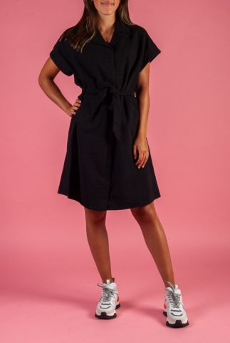 zwarte linnen mix jurk met strikceintuur cenia dress