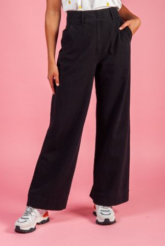 zwarte linnen mix broek met wijde pijpen cenia trousers