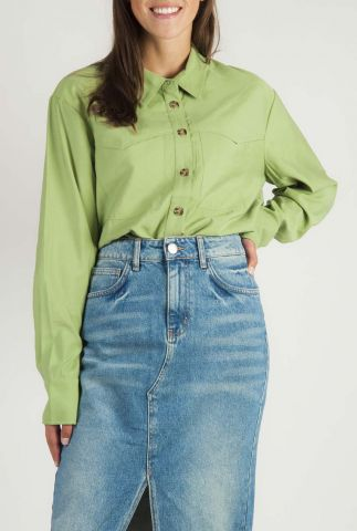groene blouse van viscose mix met knoopsluiting cera shirt
