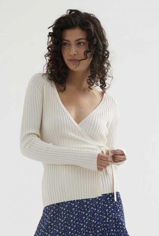 creme kleurig overslag vest met rib dessin en striksluiting cg anna