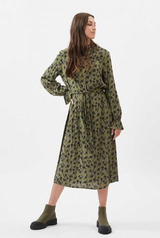 donker groene midi jurk met bloemen dessin chalotthea 7255