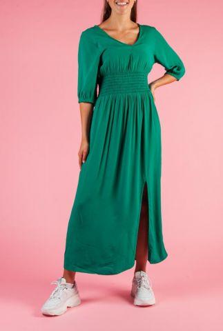 donker groene maxi jurk met elastische tailleband chano dress
