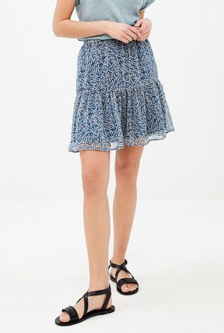 denim blauwe mini rok met witte bloemenprint charlie skirt flower