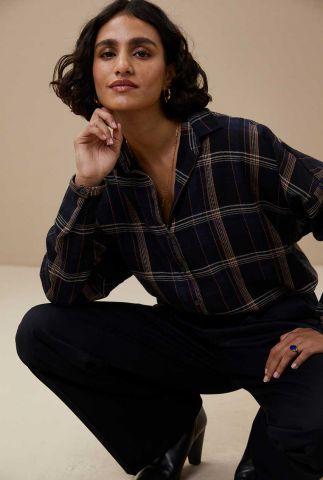 donkerblauwe oversized blouse met ruit dessin check blouse