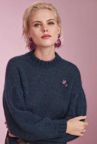 petrol kleurige trui van kidmohair wol chelssy