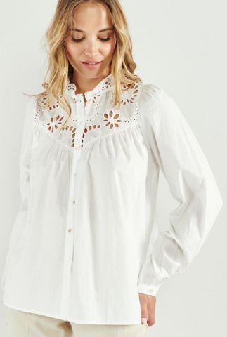 witte katoenen blouse met broderie anglaise adelino 58099