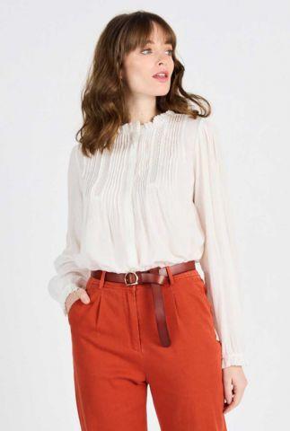 witte blouse met lange mouwen en opengewerkte details albana 60238