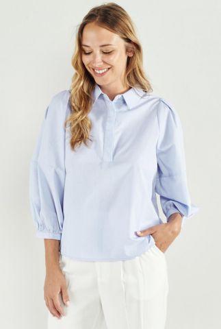 licht blauwe blouse met pofmouwen lidia 58062