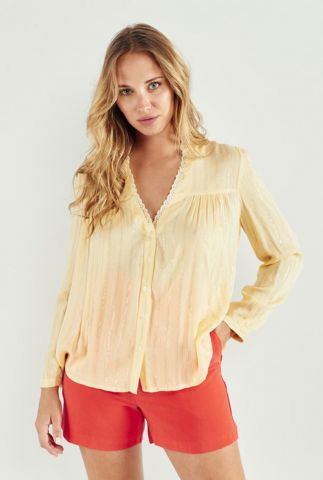 semi transparante gele blouse met glitter strepen pedro 58032