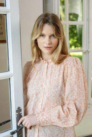 blouse met oranje / roestkleurig bloemen dessin poplin
