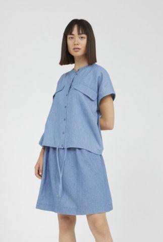 denim look blouse met tunnelkoord ciaana 30002539