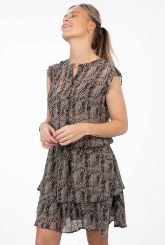 chiffon jurk met all-over print en tunnelkoord blair dress s21.57.3005