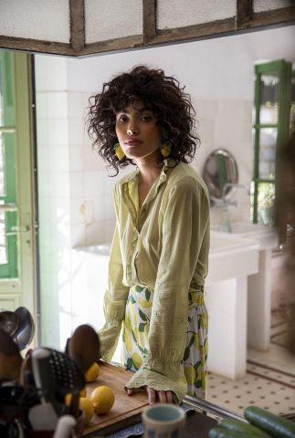 groene blouse met flared mouwen clara blouse