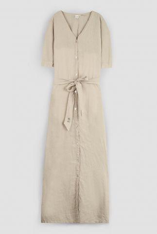 beige maxi linnen jurk met ceintuur 3052305