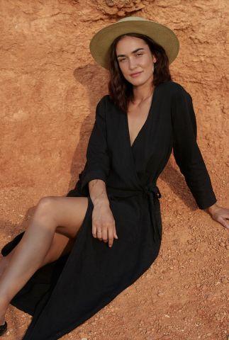 zwarte maxi overslag jurk van linnen 3052156 clematis eve