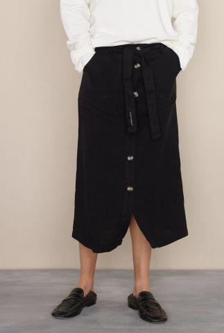 zwarte linnen midi rok met ceintuur 4052181 clematies julie