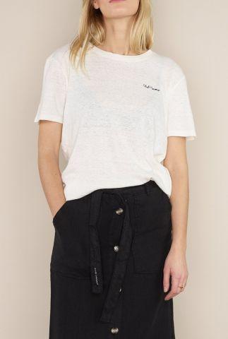 off-white t-shirt van linnenmix met logo opdruk 1052103 lavender sue