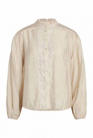 creme blouse met kanten details lisissa lace shirt 95767