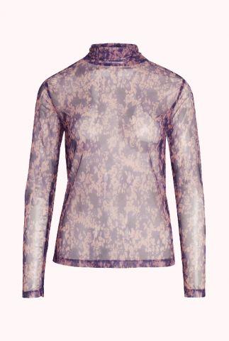 paarse mesh top met bloemenprint mauve mesh turtleneck 93082