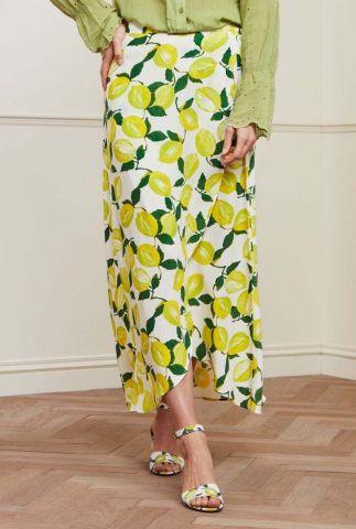 crème kleurige overslag rok met citroenen dessin cora skirt pistache