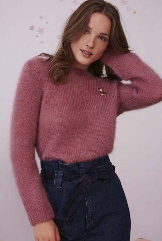 zachte lavendel kleurige gebreide trui van kid mohair cosmic