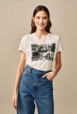ecru t-shirt met vintage foto opdruk covi11 t1301y