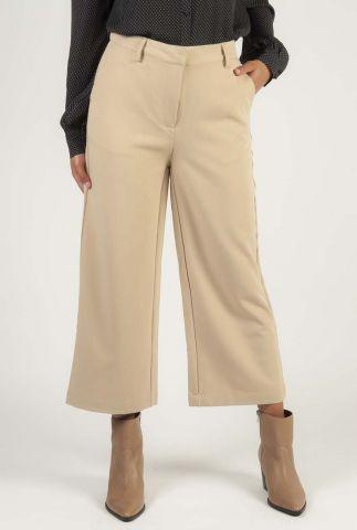beige culotte broek met een hoge taille en wijde pijpen culotta e54