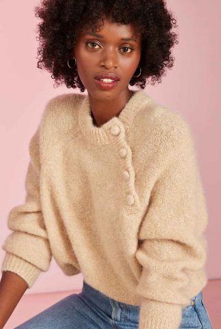 zand kleurige trui met kid mohair en knoop details dafne