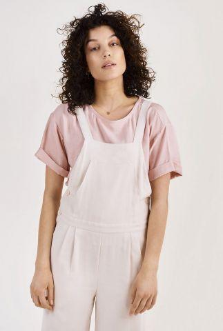 roze t-shirt met omgeslagen mouwen dahlia top s/s