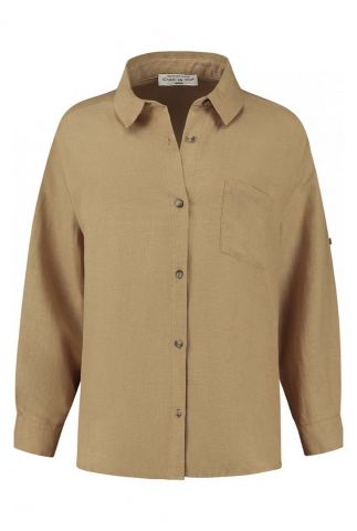 lichtbruine linnenmix blouse met klassieke kraag dahlia s21.96.6533