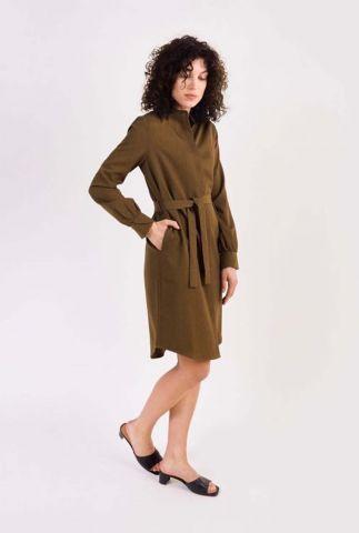 donkergroene jurk met lange mouwen dalyce dress l/s